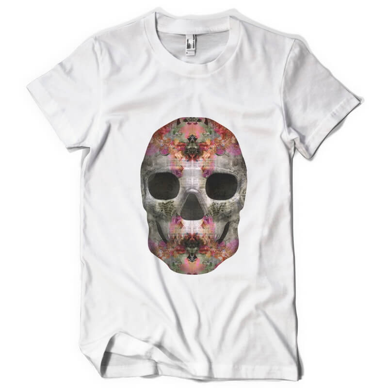Dark Floral Skull Custom t-shirts